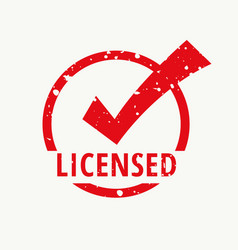 licensed red stamp vector image vector image