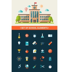 Set of flat design school icons vector image vector image