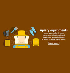 apiary equipments banner horizontal concept vector image vector image