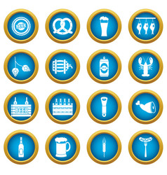 beer icons blue circle set vector image vector image
