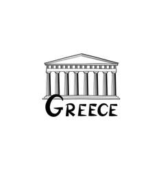 greece sign greek famous landmark temple travel vector image