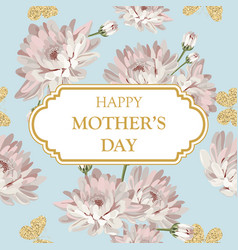 Happy mothers day shabby chic chrysanthemums on vector