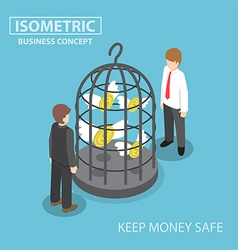 Isometric flying dollar trapped in bird cage vector image
