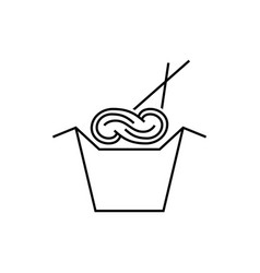 noodles in box with chopsticks vector image vector image