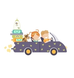 Couple traveling by car vector image vector image
