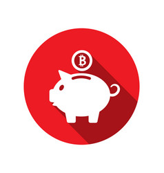 flat icons of piggy bank concept with bitcoin btc vector image vector image