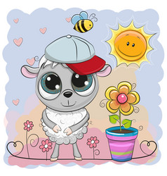 Greeting card cute sheep with flower vector