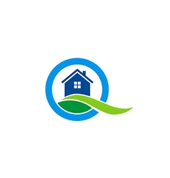house land realty construction logo vector image