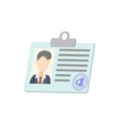 Identification card icon cartoon style vector image vector image