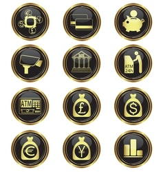 money business icon set vector image vector image