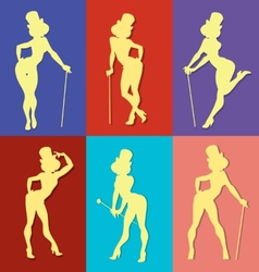 pin up style silhouette of show girl vector image