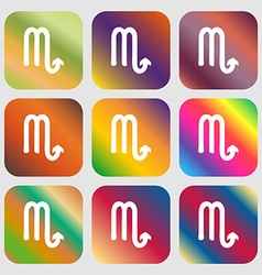 Scorpio sign icon Nine buttons with bright vector image vector image
