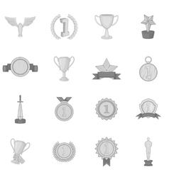 Trophy award icons set black monochrome style vector image