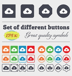 Upload from cloud icon sign Big set of colorful vector image vector image
