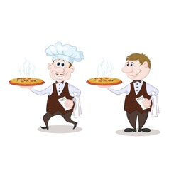 Waiters deliver a hot pizza vector image