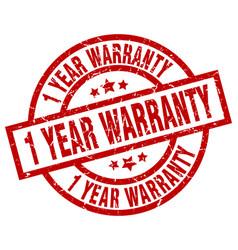 1 year warranty round red grunge stamp vector