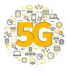 5g sign logo technology network vector image