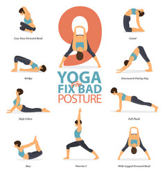 9 yoga poses for fix bad posture vector