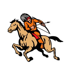 American Indian Riding Horse Bow And Arrow vector