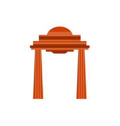 ancient gate with columns in flat style on a vector image