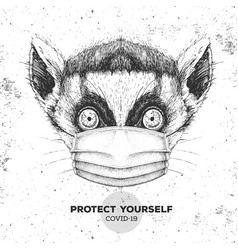 Animal lemur wearing face medical mask covid-19 vector