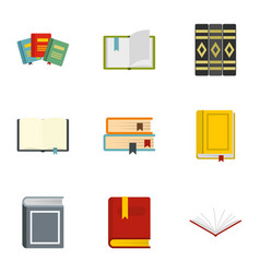 books learning icons set flat style vector image