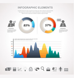 business chart and infographic icons set vector image