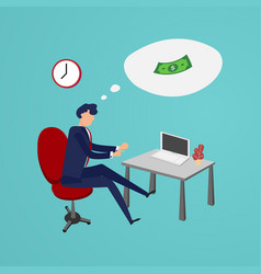 businessman working overtimes to making money in vector image
