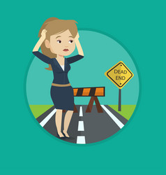 Businesswoman looking at road sign dead end vector