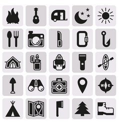 Camping icons set on button background vector