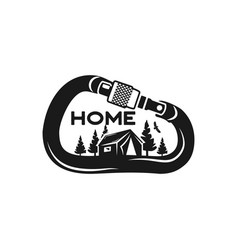 camping wildlife badge mountain climbing and vector image