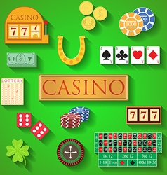 casino elements flat design modern items vector image