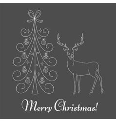 Christmas tree and reindeer vector