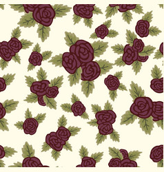 Colorful seamless pattern red roses on light vector
