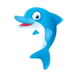 Cute Blue Dolphin Smiling vector