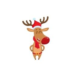 Cute funny Christmas reindeer in red hat scarf vector