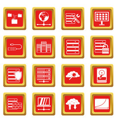 Database icons set red vector
