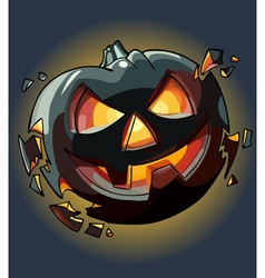 Drawn cartoon Halloween pumpkin falling apart vector