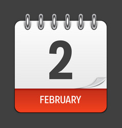 february 2 calendar daily icon vector image