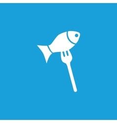 Fish on fork icon white vector