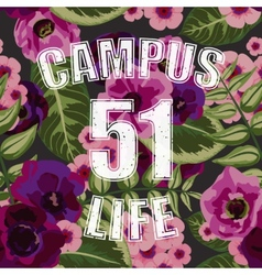 Flower tropical seamless pattern with campus life vector image