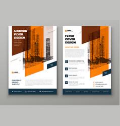 Flyer template layout design orange corporate vector