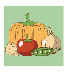 fresh vegetables cartoons vector image