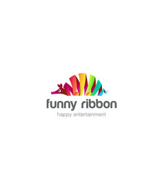 funny colorful ribbon abstract ant-bear logo vector image