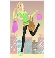 Girl running shopping vector image