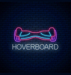 glowing neon sign electric hoverboard vector image