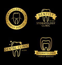 Gold stomatology dental clinic line logo vector