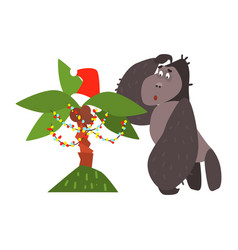 gorilla and christmas palm tree flat vector image