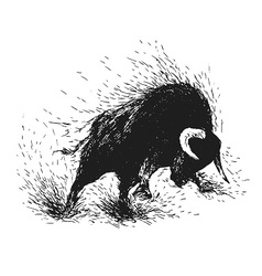 Hand drawing of a raging bull vector image