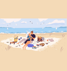 happy couple hugging on picnic blanket at seaside vector image